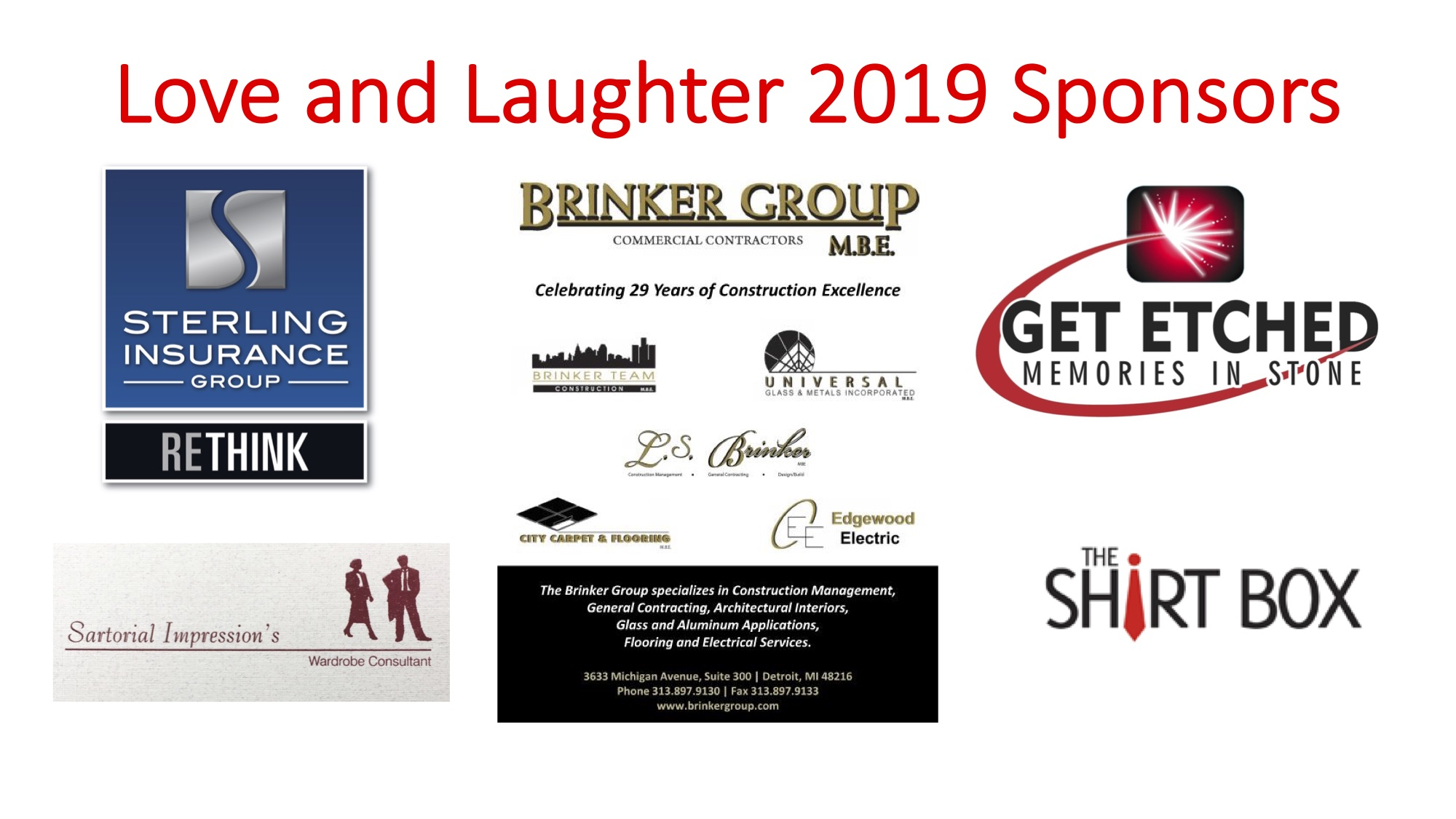 Love and Laughter 2019 Sponsors